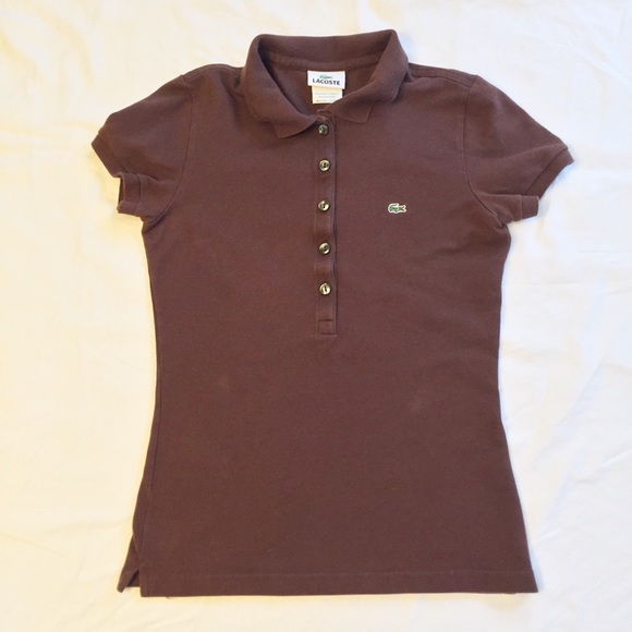 Lacoste Tops - Lacoste Brown Slim Fit Stretch Polo Size 4